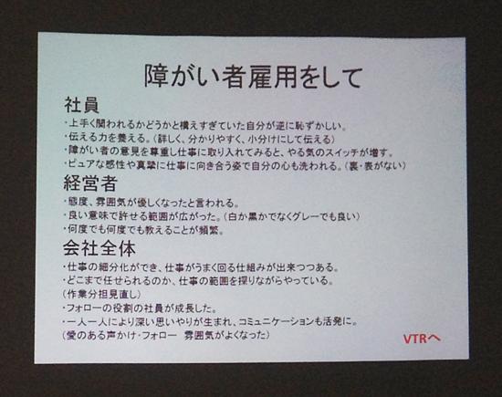 ディーセントワーク報告者のスライド